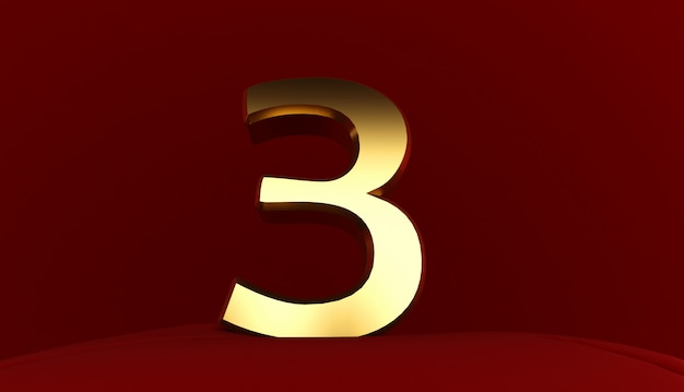 3d-weergave van nummer 3, goud metaal nummer drie, 3d-tekst,