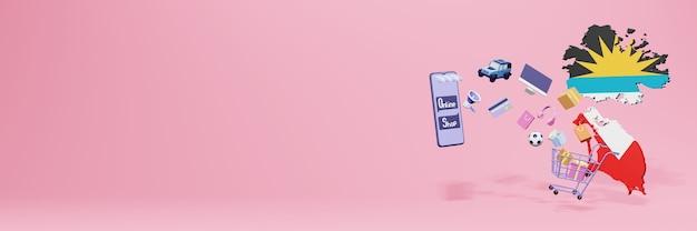 3d-weergave van online winkelen in antiqua en barbuda voor sociale media en websites