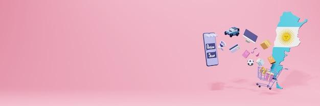 3d-weergave van online winkelen in argentinië voor sociale media en websites