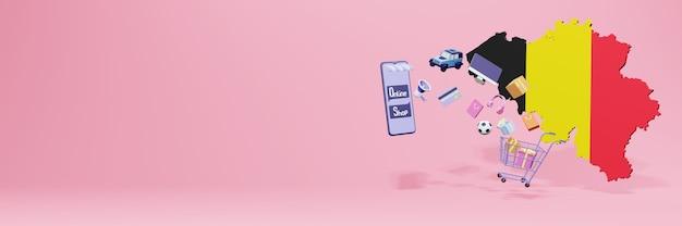 3d-weergave van online winkelen in belgië voor sociale media en websites