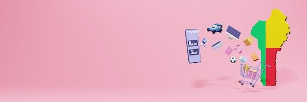 3d-weergave van online winkelen in benin voor sociale media en websites