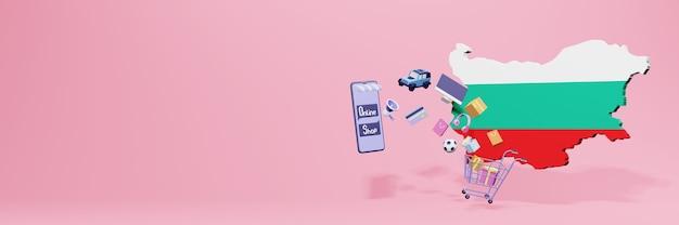 3d-weergave van online winkelen in bulgarije voor sociale media en websites