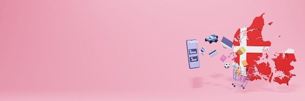 3d-weergave van online winkelen in denemarken voor sociale media en websites