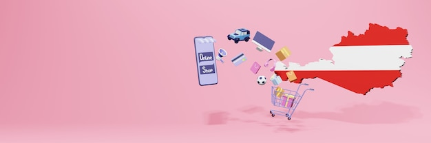 3d-weergave van online winkelen in oostenrijk voor sociale media en websites