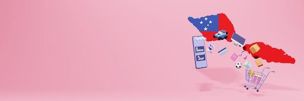 3d-weergave van online winkelen in samoa voor sociale media en websites