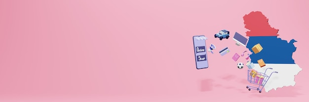 3d-weergave van online winkelen in servië voor sociale media en websites