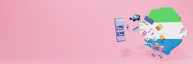 3d-weergave van online winkelen in siera leone voor sociale media en websites