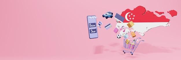 3d-weergave van online winkelen in singapore voor sociale media en websites