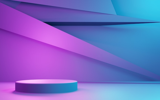 3d-weergave van paarse en blauwe abstracte geometrische achtergrond advertising cyberpunk technology