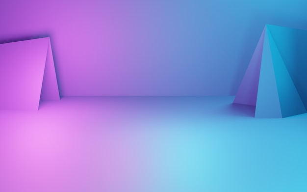 3d-weergave van paarse en blauwe abstracte geometrische achtergrond cyberpunk concept reclame