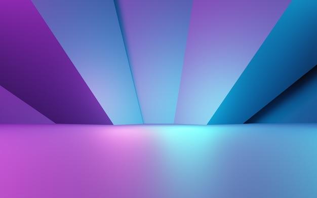 3d-weergave van paarse en blauwe abstracte geometrische achtergrond. cyberpunk concept