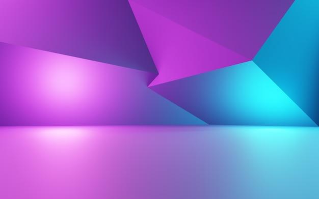 3d-weergave van paarse en blauwe abstracte geometrische achtergrond reclame product display
