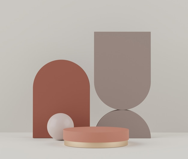 3d-weergave van pastel geeft podiumscène weer voor mock-up en productpresentatie met minimale achtergrond.