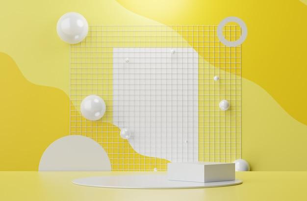 3d-weergave van pastel geeft podiumscène weer voor mock-up en productpresentatie met verlichtende gele en grijze achtergrond.