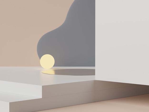 3d-weergave van pastel minimale scène van wit leeg podium met thema van aardetonen. gedempte verzadigde kleur. eenvoudig geometrisch vormenontwerp. moderne display voor productpresentatie.