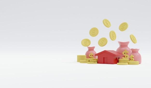 3d-weergave van pastelkleurige munten en geldzak en een huis met ruimte voor tekst aan de linkerkant