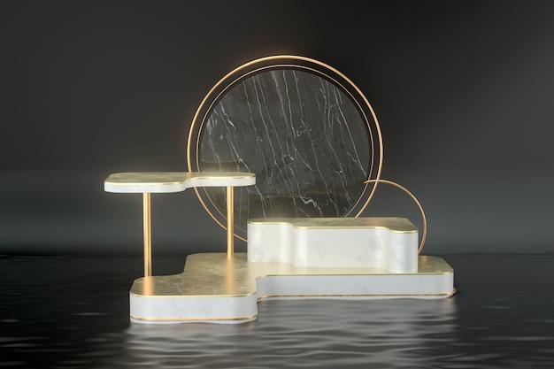 3d-weergave van podia en gouden ringen