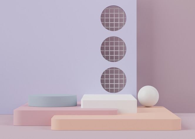 3d-weergave van podia met geometrische vormen