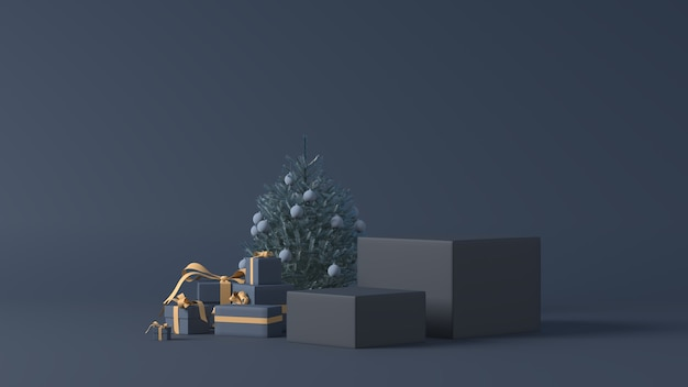 3d-weergave van podia met kerstcadeaus