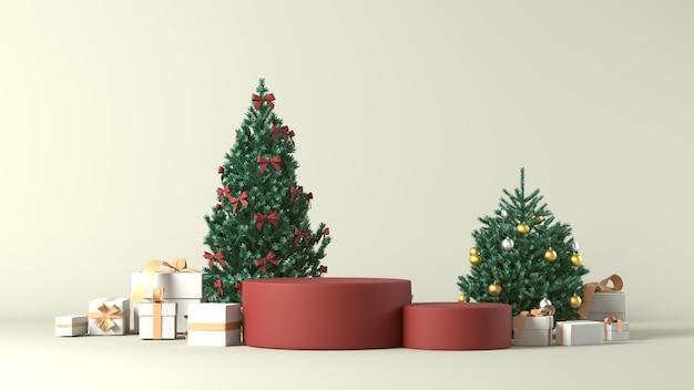 3d-weergave van podia met kerstversiering