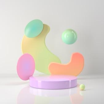 3d-weergave van podium en abstract geometrisch.