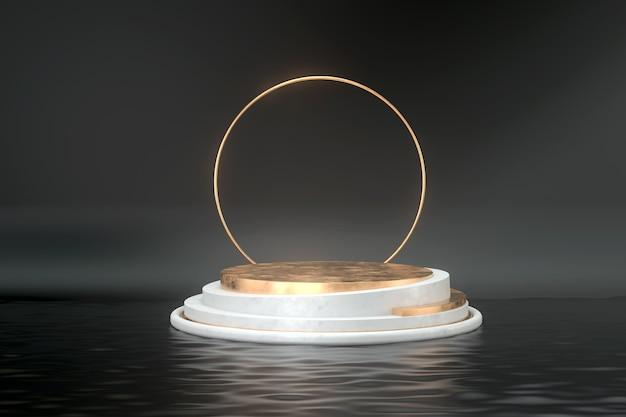 3d-weergave van podium en gouden ring