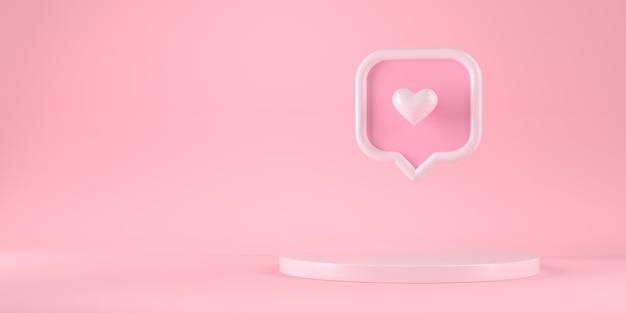 3d-weergave van podium en hart berichtpictogram.