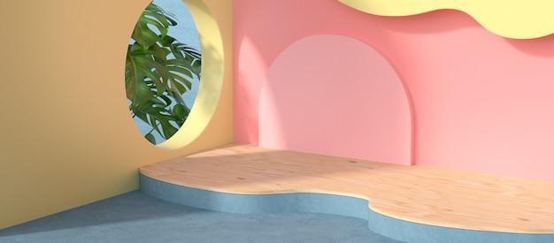 3d-weergave van podium en plant.