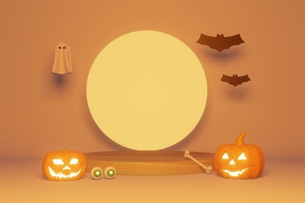 3d-weergave van podium halloween-thema