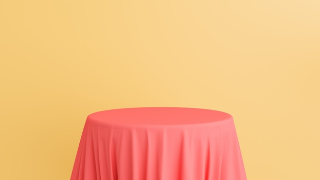 3d-weergave van podium met roze zijde stof