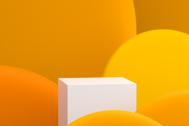 3d-weergave van podium op een abstracte achtergrond