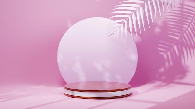 3d-weergave van podium voor het weergeven van producten op de achtergrond van een roze kamer. mockup voor showproduct.