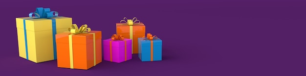 3d-weergave van realistische geschenkdoos met strik op paarse achtergrond
