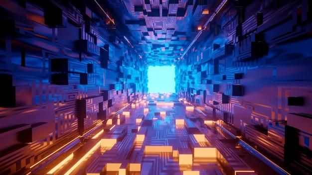 3d-weergave van realistische sci-fi ruimteschip