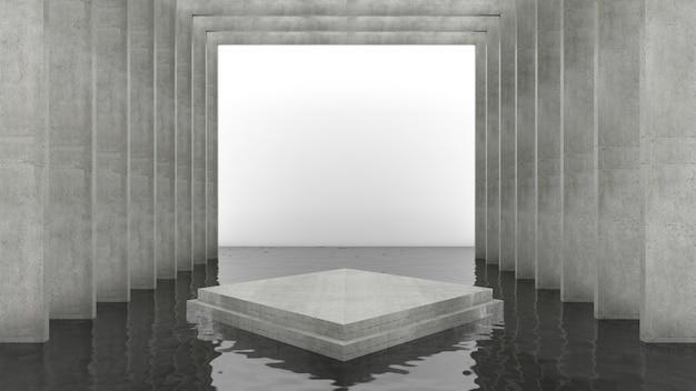 3d-weergave van rechthoek podium voor showproduct