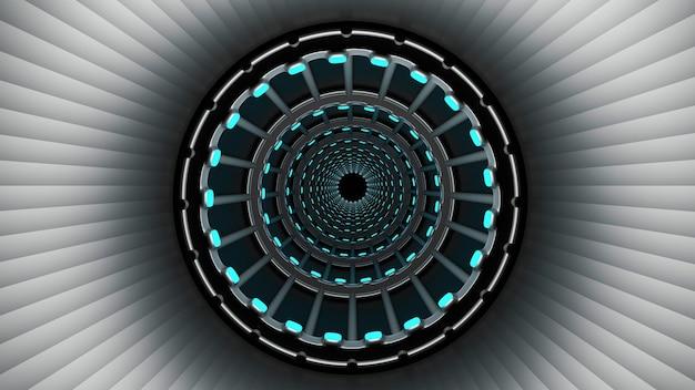 3d-weergave van ringtunnel met blauwe neonlichten