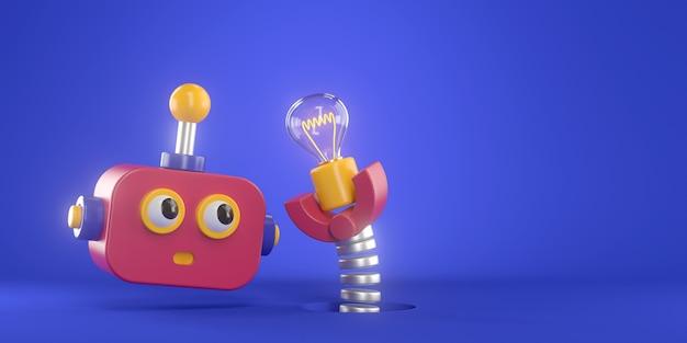 3d-weergave van robot en gloeilamp.
