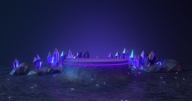 3d-weergave van rock podium en blauw kristal.