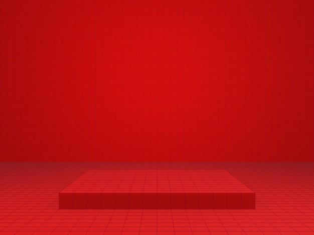 3d-weergave van rode geometrische productstandaard
