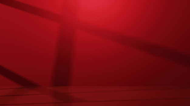 3d-weergave van rode kamer voor het weergeven van producten achtergrond. voor showproduct. lege scène showcase mockup.