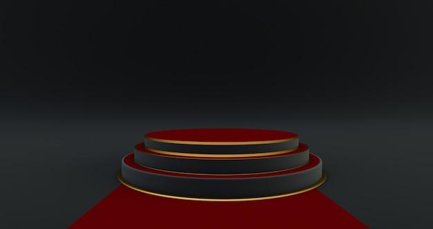 3d-weergave van rood en zwart voetstuk geïsoleerd op zwarte muur, luxe minimalistisch