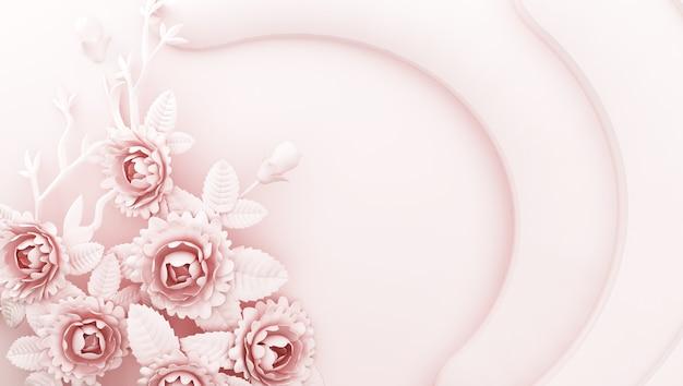 3d-weergave van roze achtergrond met bloemen aan de zijkanten
