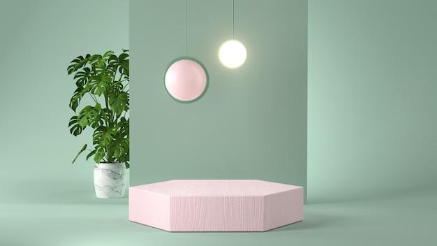 3d-weergave van roze podium en plant.