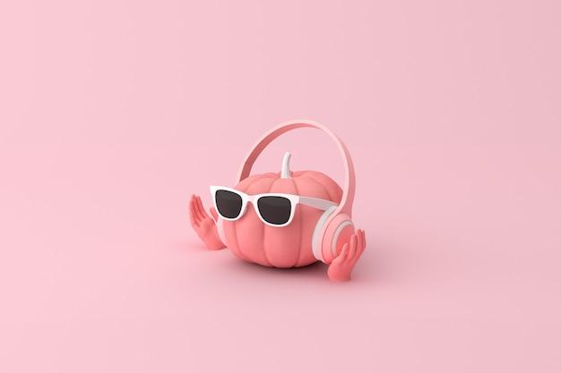 3d-weergave van roze pompoen met koptelefoon en zonnebril.