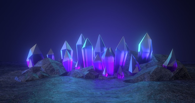 3d-weergave van ruwe steen en blauw kristal.