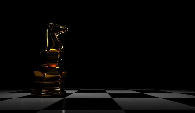 3d-weergave van schaakstukken gouden ridder. geïsoleerd op zwarte achtergrond.