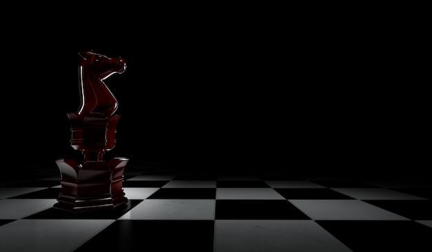 3d-weergave van schaakstukken rode ridder. geïsoleerd op zwarte achtergrond.