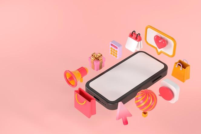 3d-weergave van smartphone en applicatie.