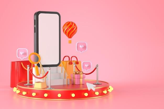 3d-weergave van smartphone en podium.