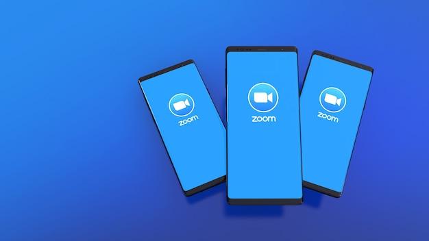 3d-weergave van smartphones met zoom-logo op het scherm